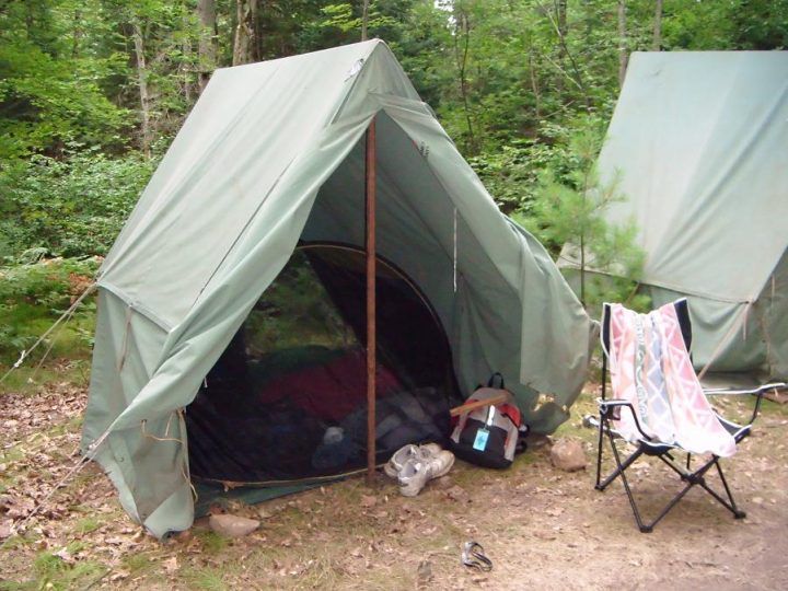 Scout Camp, Canvas Tents and Mosquito Netting